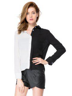 Shirt Collar Color Block Shirt - White And Black 2xl