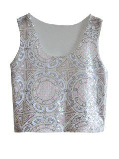 Ethnic Pattern Sequins Tank Top - Pink