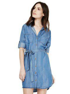 Bleach Wash Belt Denim Dress - Water Blue S