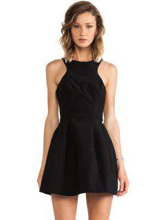 Robe Couleur Backless A-ligne Solide - Noir Xl