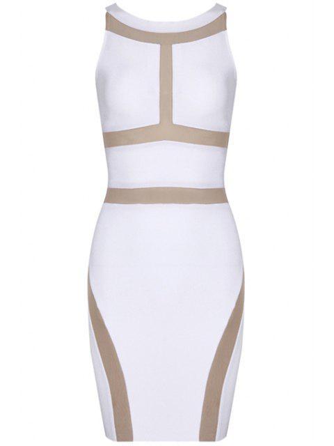 shops Color Block Sleeveless Bandage Dress - WHITE L Mobile