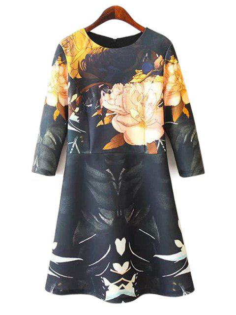 latest Floral Print 3/4 Sleeve Dress - COLORMIX M Mobile