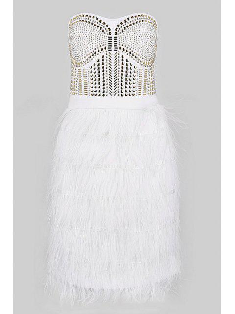 women's Feather Splicing Strapless Dress - WHITE M Mobile