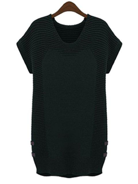latest Solid Color Short Sleeve Sweater Dress - BLACK 2XL Mobile