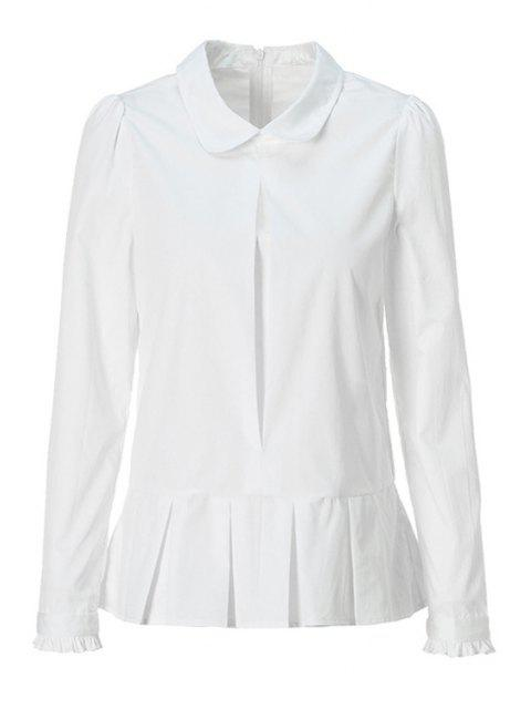 sale Solid Color Flounce Splicing Shirt - WHITE L Mobile