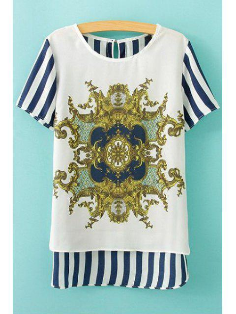 outfit Print Striped Short Sleeve Blouse - BLUE AND WHITE L Mobile