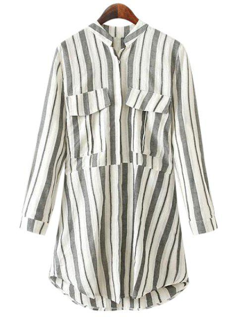 affordable Stand-Up Collar Stripe Pockets Shirt - GRAY L Mobile