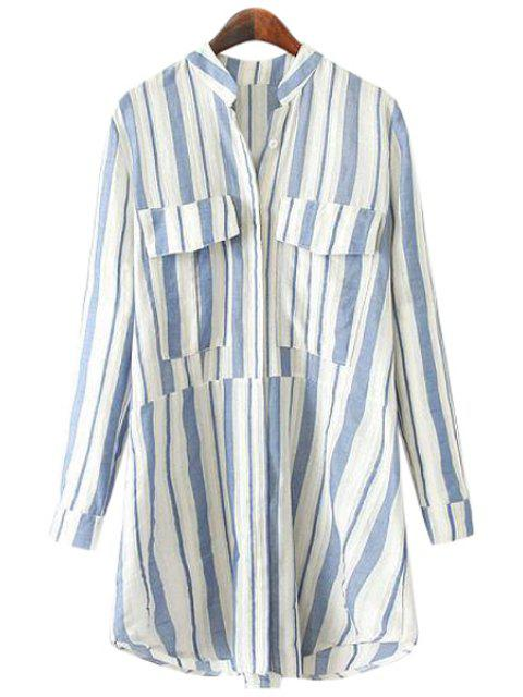 women Stand-Up Collar Stripe Pockets Shirt - BLUE L Mobile