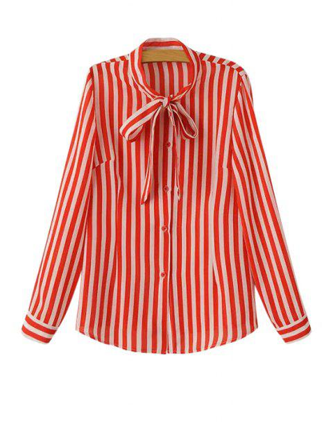 shop Stripe Tie-Up Long Sleeve Shirt - RED L Mobile