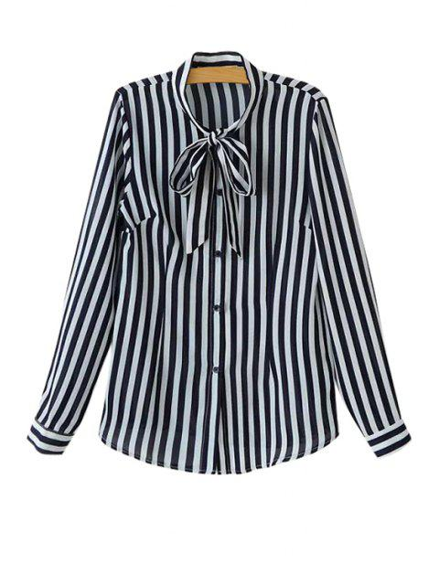 fashion Stripe Tie-Up Long Sleeve Shirt - BLACK L Mobile