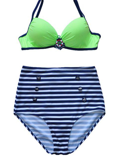 fashion Spaghetti Straps Striped Bikini Set - GREEN L Mobile