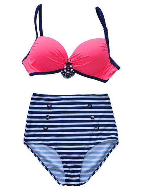 best Spaghetti Straps Striped Bikini Set - RED XL Mobile