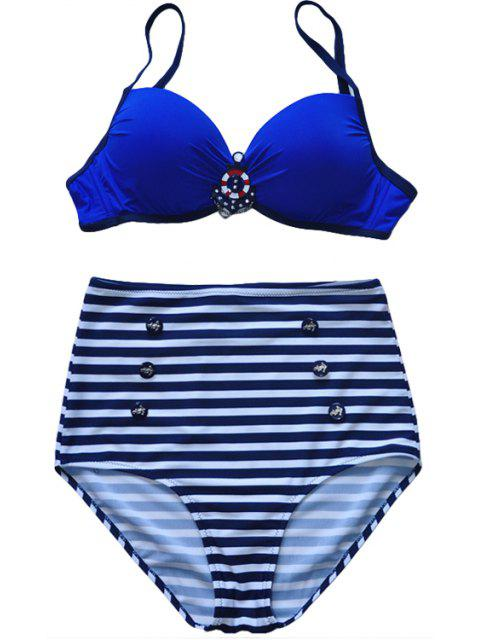 fancy Spaghetti Straps Striped Bikini Set - BLUE 3XL Mobile