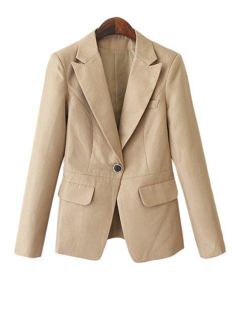 outfits Solid Color Pockets Blazer - KHAKI L Mobile