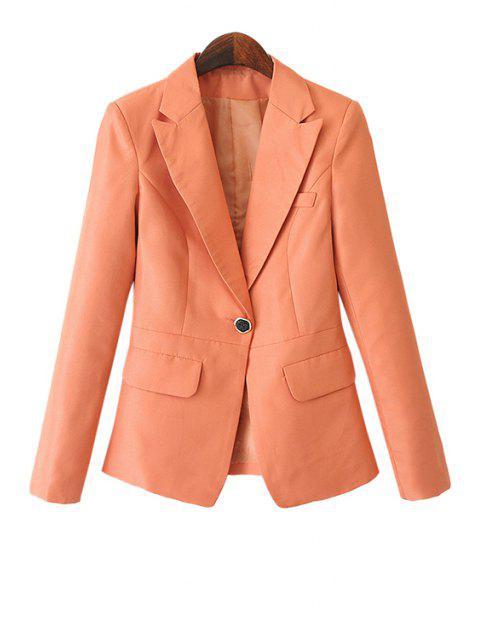 online Solid Color Pockets Blazer - ORANGE M Mobile