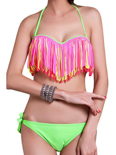 ladies Halter Fringe Bikini Set - PINK XL Mobile