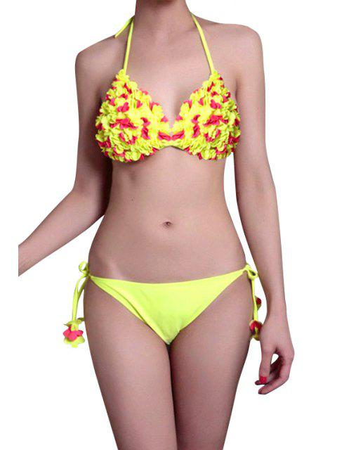 best Stereo Flower Halter Bikini Set - YELLOW M Mobile