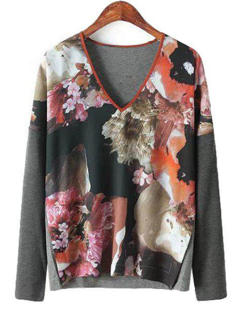 chic Splicing Floral Print Long Sleeve Shirt - JACINTH M Mobile