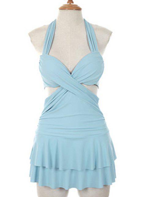 shops Solid Color Halterneck One-Piece Swimwear - LIGHT BLUE L Mobile