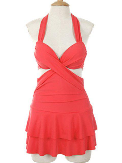 online Solid Color Halterneck One-Piece Swimwear - WATERMELON RED L Mobile