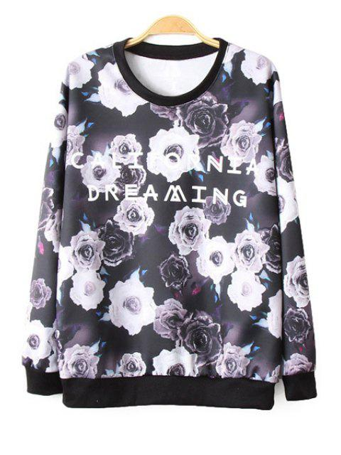 ladies Floral and Letter Print Long Sleeve Sweatshirt - COLORMIX S Mobile