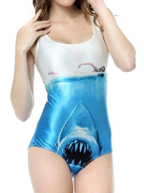fancy Shark Pattern One-Piece Swimwear - BLUE AND WHITE ONE SIZE(FIT SIZE XS TO M) Mobile