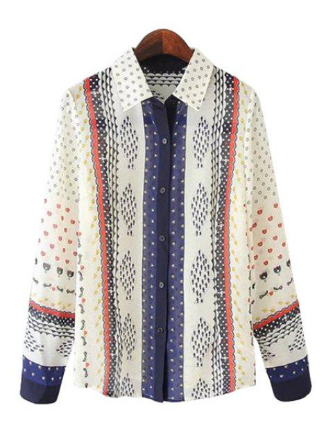 sale Print Splicing Long Sleeve Shirt - BEIGE L Mobile