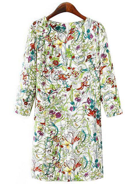 affordable Full Floral Print 3/4 Sleeves Dress - CELADON M Mobile