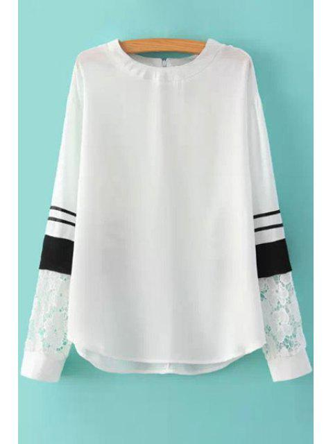fancy Long Sleeves Lace Splicing Blouse - WHITE S Mobile