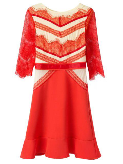 best Casual Style Jewel Neck Color Block Lace Splicing Half Sleeve Dress For Women - RED M Mobile