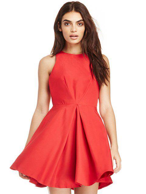 affordable Solid Color A-Line Sleeveless Dress - RED M Mobile