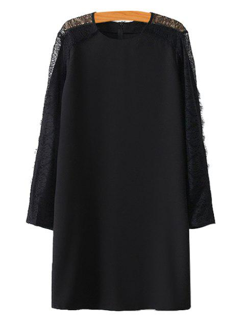 affordable Lace Openwork Solid Color Dress - BLACK L Mobile
