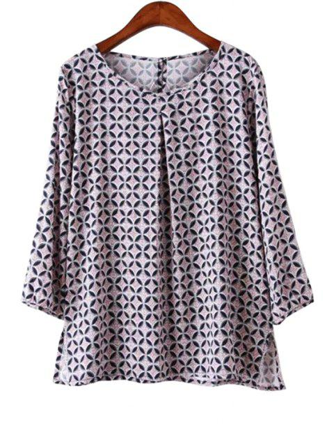 fashion Geometric Print 3/4 Sleeve Blouse - LIGHT PURPLE L Mobile