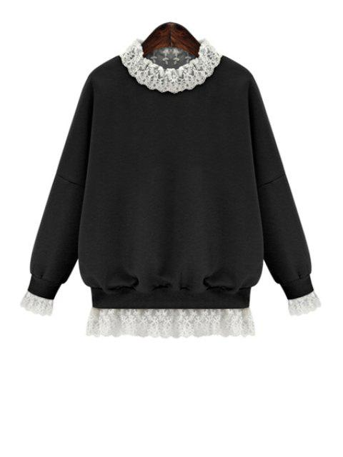 trendy Lace Splicing Long Sleeves Sweatshirt - BLACK S Mobile