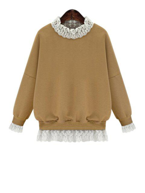 outfits Lace Splicing Long Sleeves Sweatshirt - KHAKI M Mobile