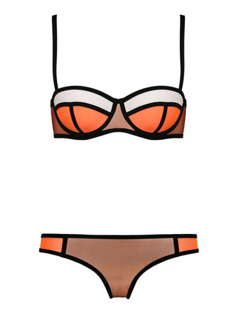 women's Color Block Plaid Bikini Set - COFFEE XL Mobile