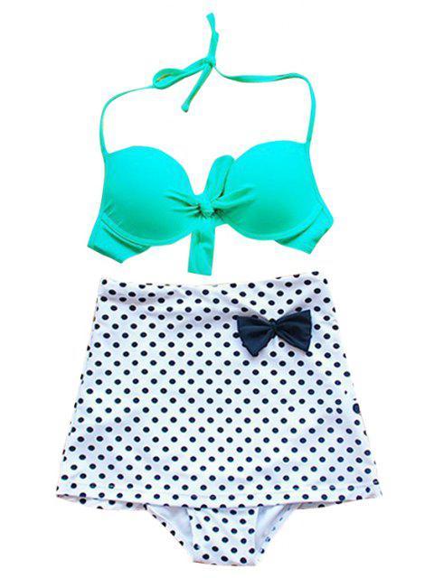 affordable Polka Dot Bowknot Bikini Set - GREEN L Mobile