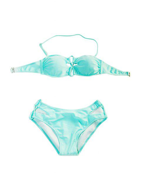 affordable Openwork Solid Color Bikini Set - LIGHT BLUE L Mobile