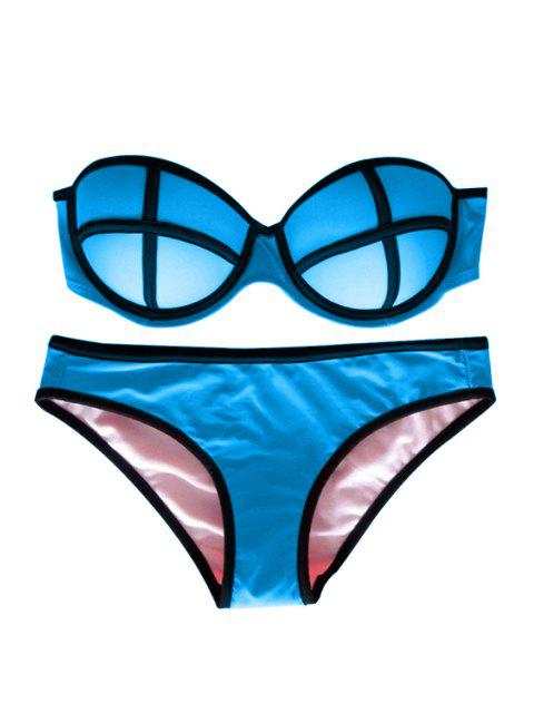 women's Color Block Push-Up Bikini Set - LAKE BLUE S Mobile