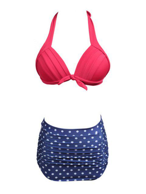 womens Polka Dot Divided Type Swimwear - BLUE M Mobile
