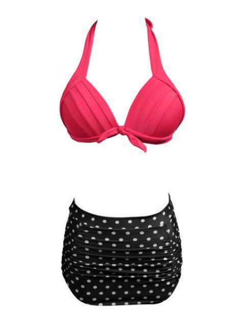 lady Polka Dot Divided Type Swimwear - BLACK S Mobile