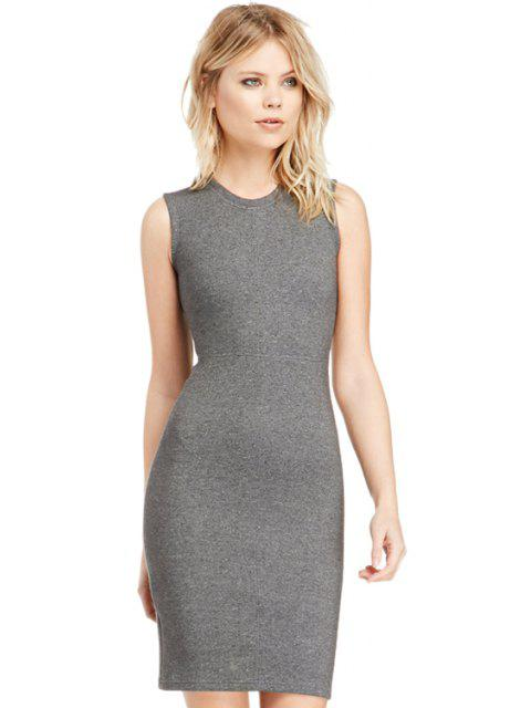 Sin mangas de color sólido envolvió el vestido - Gris 2XL Mobile