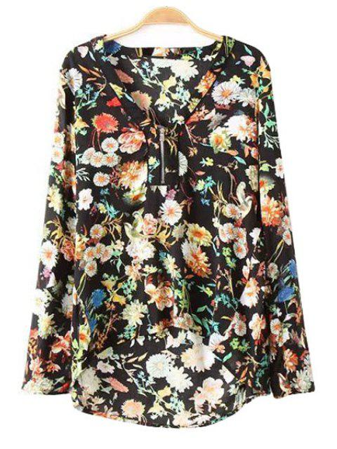 fashion Asymmetrical Floral Print Shirt - BLACK M Mobile