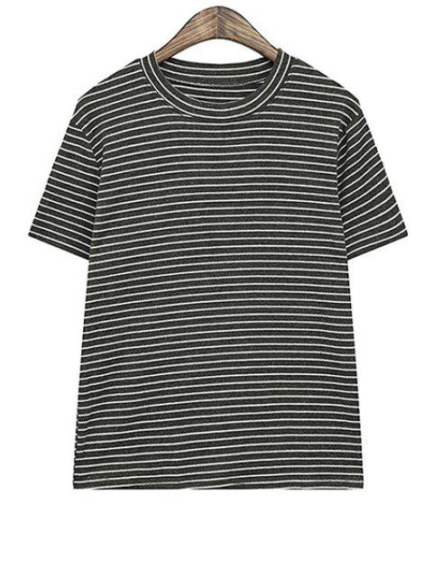 fancy Stripe Short Sleeve T-Shirt - BLACK ONE SIZE(FIT SIZE XS TO M) Mobile