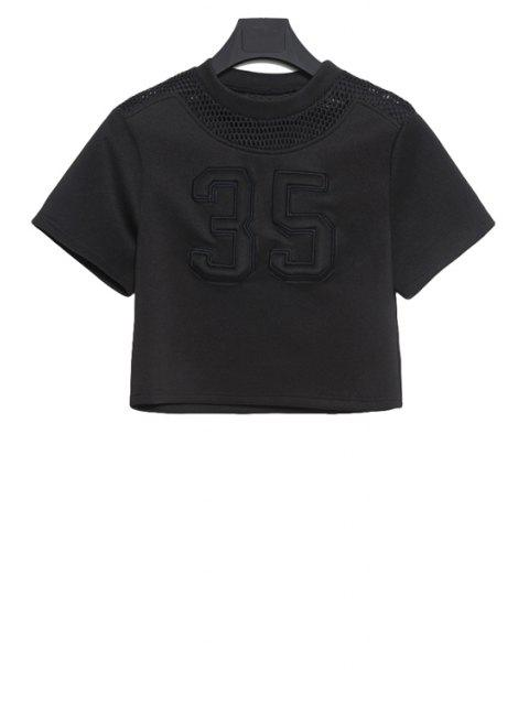 trendy Mesh Openwork Figure Pattern T-Shirt - BLACK M Mobile