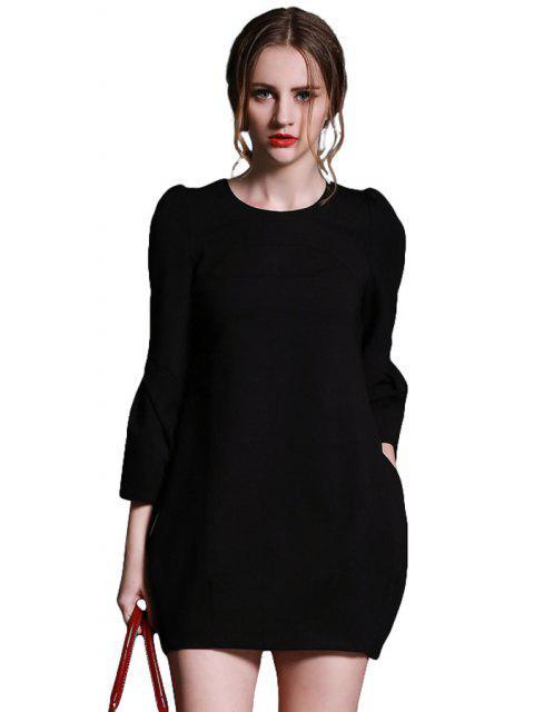 trendy Solid Color Back Zipper Lantern Sleeve Dress - BLACK XL Mobile