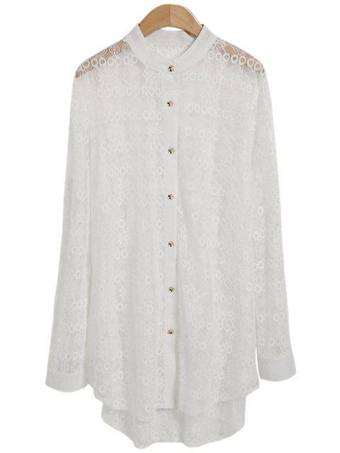 trendy Lace See-Through Solid Color Shirt - WHITE ONE SIZE(FIT SIZE XS TO M) Mobile