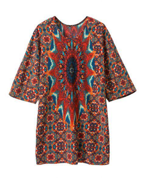 ladies Print Color Block Half Sleeve Dress - RED L Mobile