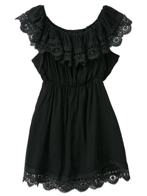 latest Lace Splicing Solid Color Sleeveless Dress - BLACK S Mobile