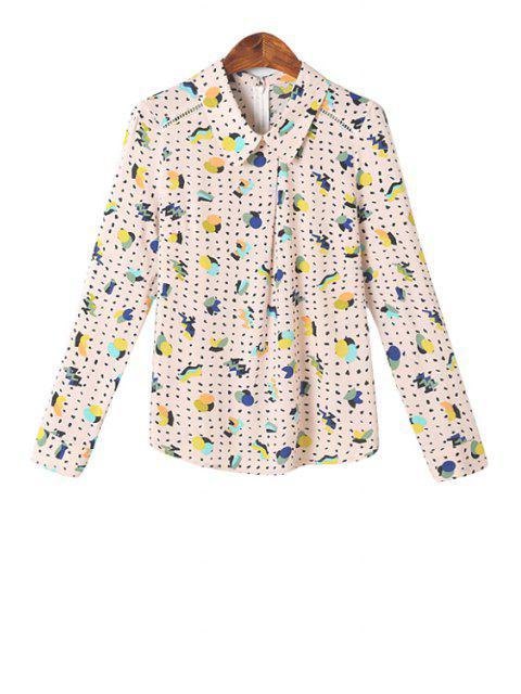 unique Polo Collar Colorful Print Shirt - COLORMIX M Mobile